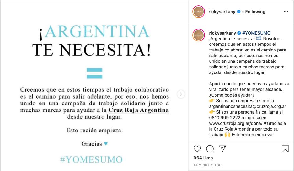 imagen del Instagram de Sarkany donde invita a sus seguidores a sumarse a la campaña de cruz roja